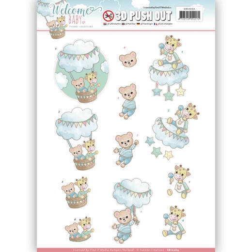 Yvonne Creations - (3D-)Stansvel A4 - Welcome Baby - In the air - SB10264