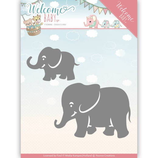 Yvonne Creations - Die - Welcome Baby - Little Elephants - YCD10138