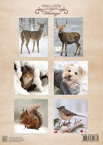 Nellie Snellen - Nellie`s Vintage - 3D-knipvel A4 - Winter Animals - NEVI051