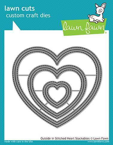 Lawn Fawn - Die - Outside In Stitched Heart Stackables - LF1563