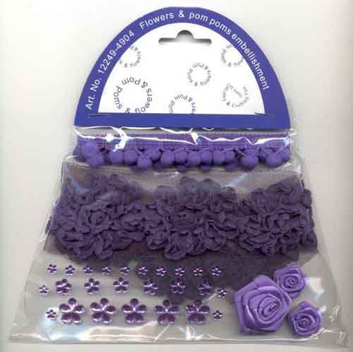 Hobby & Crafting Fun - Flowers & Pom Poms embellishment: Lila - 12249-4904