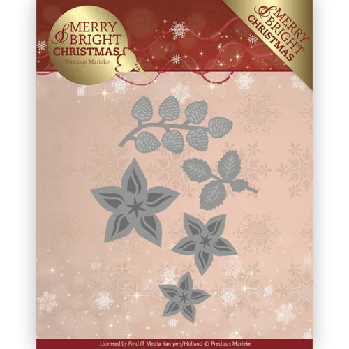 Precious Marieke - Die - Merry and Bright Christmas - Christmas Florals - PM10132