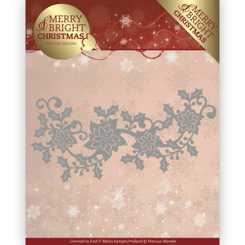Precious Marieke - Die - Merry and Bright Christmas - Poinsettia Border - PM10129