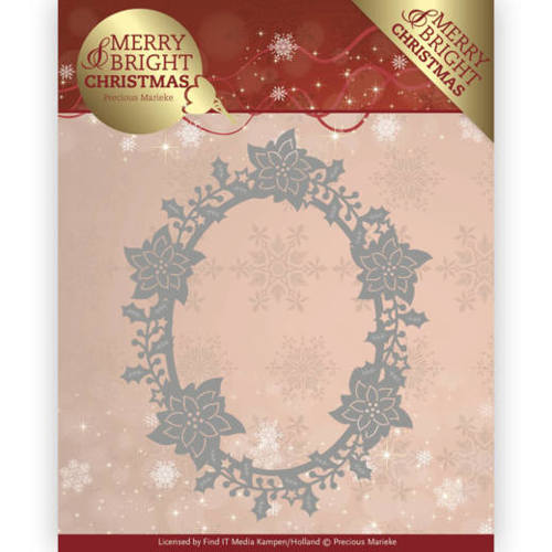 Precious Marieke - Die - Merry and Bright Christmas - Poinsettia Oval - PM10126