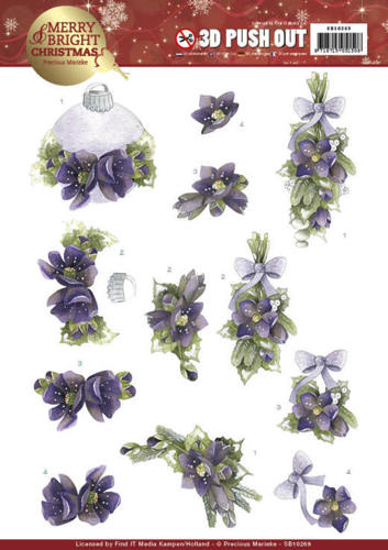 Precious Marieke - (3D-)Stansvel A4 - Merry and Bright Christmas - Bouquets in Purple - SB10269