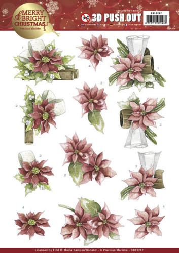 Precious Marieke - (3D-)Stansvel A4 - Merry and Bright Christmas - Poinsettia in Red - SB10267