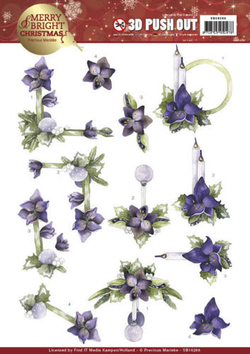 Precious Marieke - (3D-)Stansvel A4 - Merry and Bright Christmas - Amaryllis in Purple - SB10266