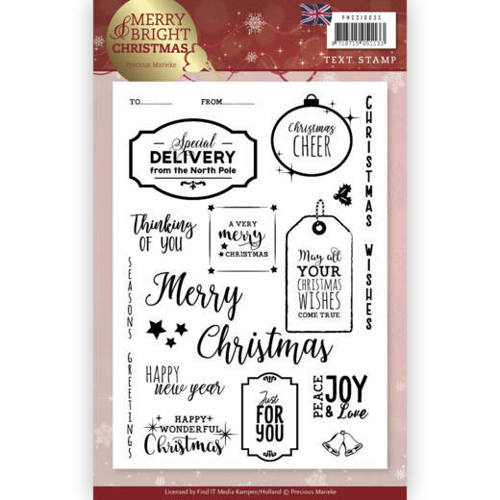 Precious Marieke - Clearstamp - Merry and Bright Christmas (ENG) - PMCS10035