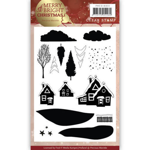 Precious Marieke - Clearstamp - Merry and Bright Christmas - Christmas House - PMCS10031