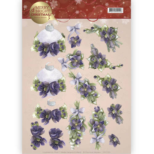 Precious Marieke - 3D-knipvel A4 - Merry and Bright -Bouquets in purple - CD11123