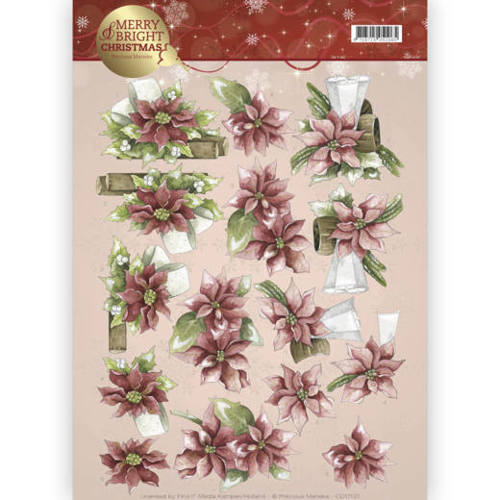Precious Marieke - 3D-knipvel A4 - Merry and Bright - Poinsettia in red - CD11121