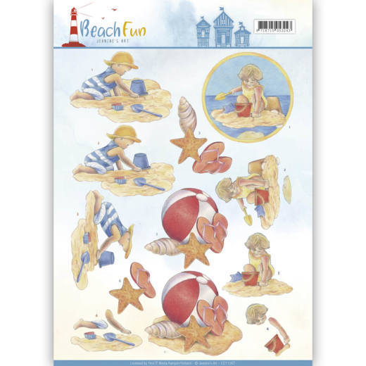 Jeanine`s Art - 3D-knipvel A4 - Beach Fun Collectie - Playing in the sun - CD11067