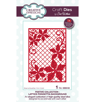 Creative Expressions - Die - The Festive Collection - Lattice Poinsettia Background - CED3135