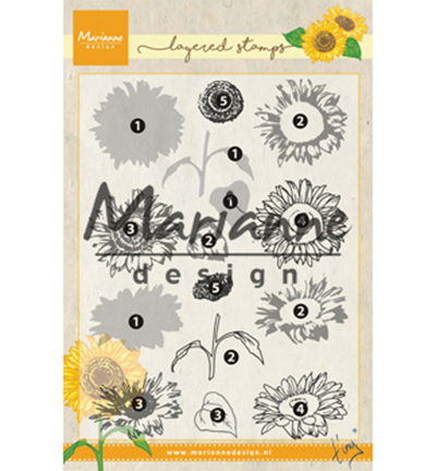 Marianne Design - Tiny`s - Clearstamp - Tiny`s Sunflower (layering) - TC0865