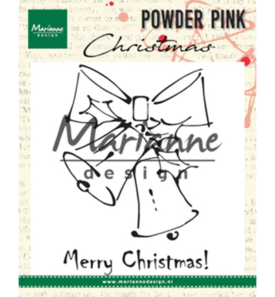 Marianne Design - Clearstamp - Powder Pink - Merry Christmas Bells - PP2810