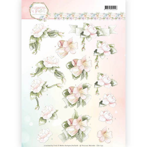 Precious Marieke - 3D-knipvel A4 - Flowers in Pastels - Believe in Pink - CD11142