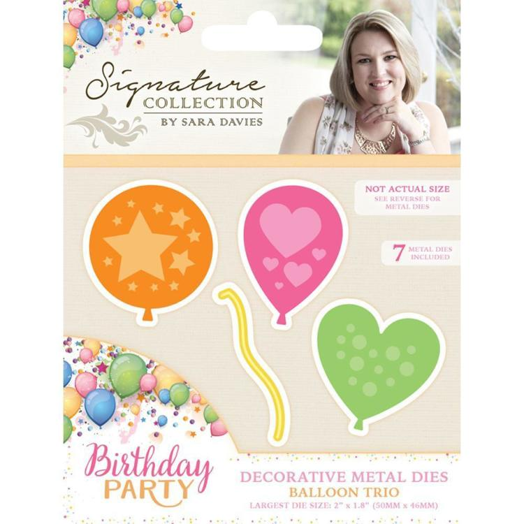 Crafter`s Companion - Sara Davies - Die - Birthday Party - Balloon Trio - S-BP-MD-BTRIO