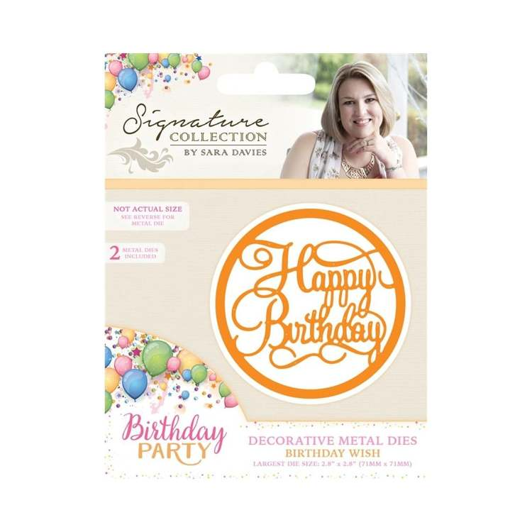Crafter`s Companion - Sara Davies - Die - Birthday Party - Birthday Wish - S-BP-MD-BWISH
