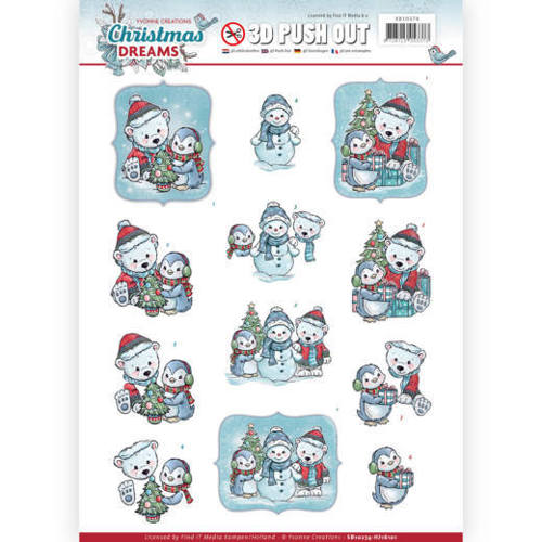 Yvonne Creations - (3D-)Stansvel A4 - Christmas Dreams - Christmas Bears - SB10274