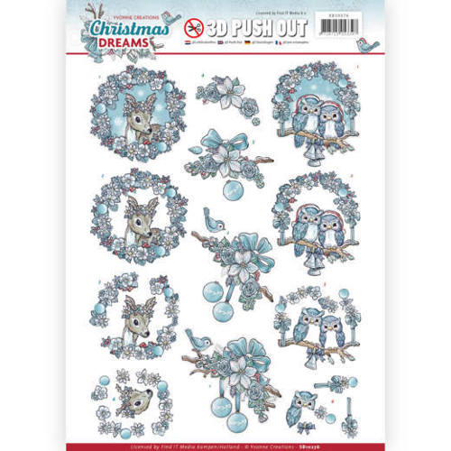 Yvonne Creations - (3D-)Stansvel A4 - Christmas Dreams - Christmas Animals - SB10276
