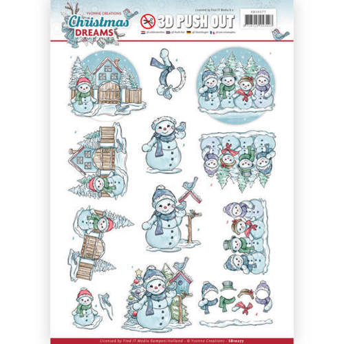 Yvonne Creations - (3D-)Stansvel A4 - Christmas Dreams - Snowman - SB10277