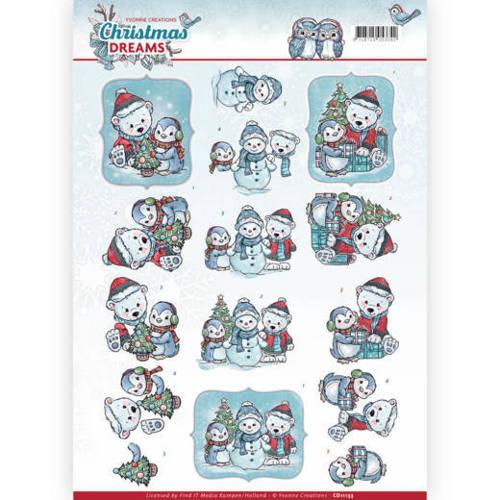 Yvonne Creations - 3D-knipvel A4 - Christmas Dreams - Christmas Bears - CD11133
