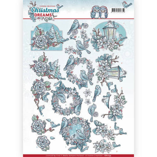 Yvonne Creations - 3D-knipvel A4 - Christmas Dreams - Christmas Birds - CD11134