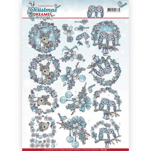 Yvonne Creations - 3D-knipvel A4 - Christmas Dreams - Christmas Animals - CD11135