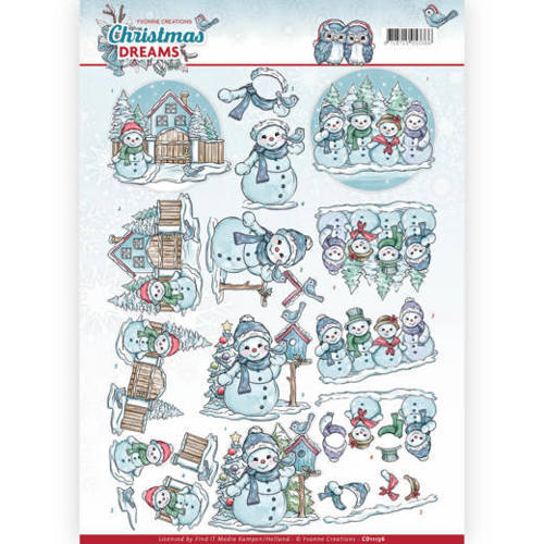 Yvonne Creations - 3D-knipvel A4 - Christmas Dreams - Snowman - CD11136