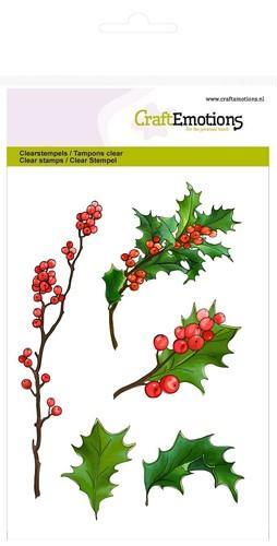 CraftEmotions - Clearstamp - Berry twigs and holly leaves - 130501/1292