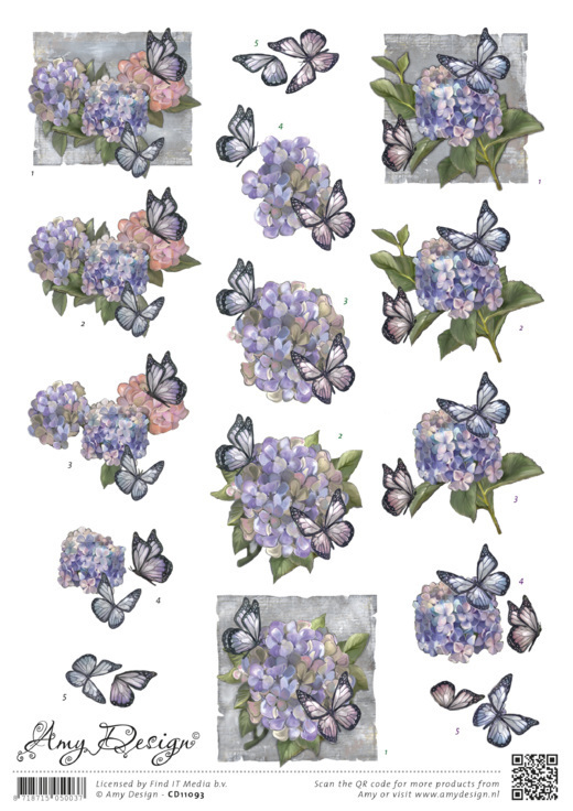 Amy Design - 3D-knipvel A4 - Hortensia - CD11093