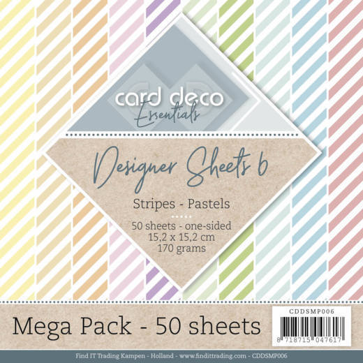 Card Deco - Paperpack - Designer Sheets - Stripes: Pastels - CDDSMP006