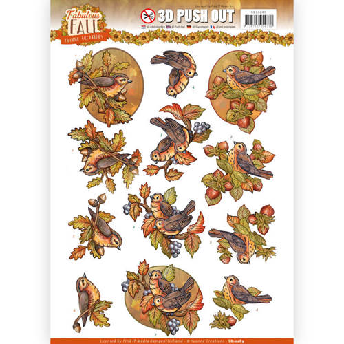 Yvonne Creations - (3D-)Stansvel A4 - Fabulous Fall - Fall Birds - SB10289