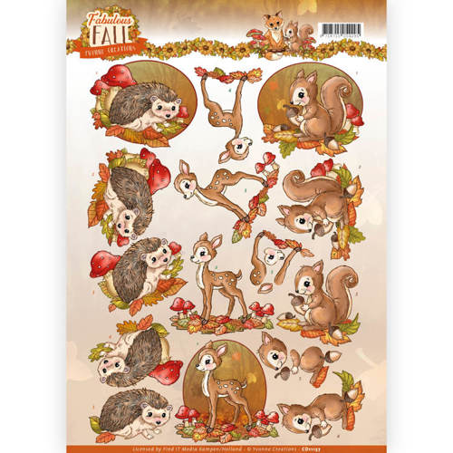 Yvonne Creations - 3D-knipvel A4 - Fabulous Fall - Fabulous Animals - CD11157