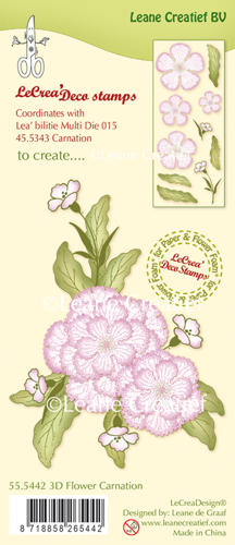 Leane Creatief - Clearstamp - 3D Flower Carnation - 55.5442