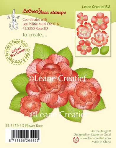 Leane Creatief - Clearstamp - 3D Flower Rose - 55.5459