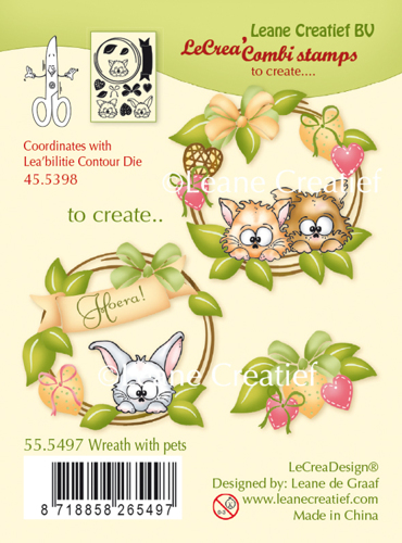 Leane Creatief - Clearstamp - Wreath with pets - 55.5497