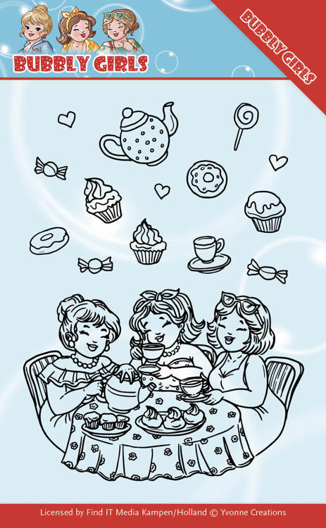 Yvonne Creations - Clearstamp - Bubbly Girls - Tea Party - YCCS10043