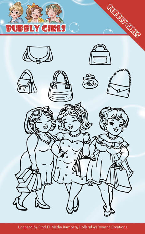 Yvonne Creations - Clearstamp - Bubbly Girls - Gone Shopping - YCCS10044