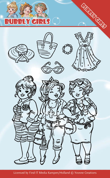 Yvonne Creations - Clearstamp - Bubbly Girls - Girlfriends - YCCS10045