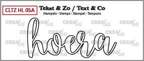 Crealies - Clearstamp - Tekst & Zo - No. 5A - Handlettering - Hoera (omlijning) - CLTZHL05A