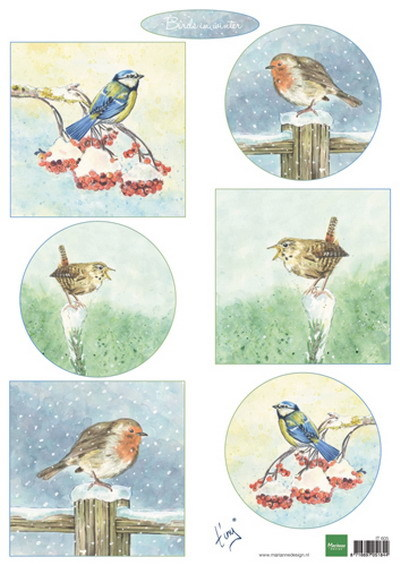 Marianne Design - Tiny`s - 3D-knipvel A4 - Birds in winter - IT605