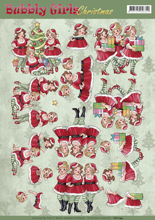 Yvonne Creations - 3D-knipvel A4 - Bubbly Girls - Christmas - Christmas Dresses - CD11194