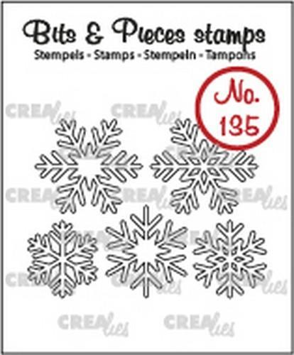 Crealies - Clearstamp - Bits & Pieces - No. 135 - 5 snowflakes (outline) - CLBP135