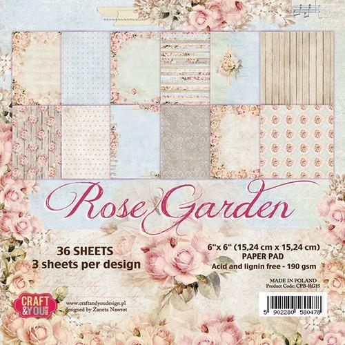 Craft & You Design - Paperpack - 152 x 152mm - Rose Garden - CPB-RG15