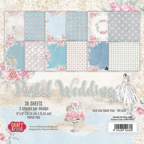 Craft & You Design - Paperpack - 152 x 152mm - Pastel Wedding - CPB-PW15
