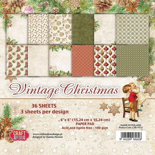 Craft & You Design - Paperpack - 152 x 152mm - Vintage Christmas - CPB-VC15