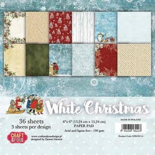 Craft & You Design - Paperpack - 152 x 152mm - White Christmas - CPB-WC15