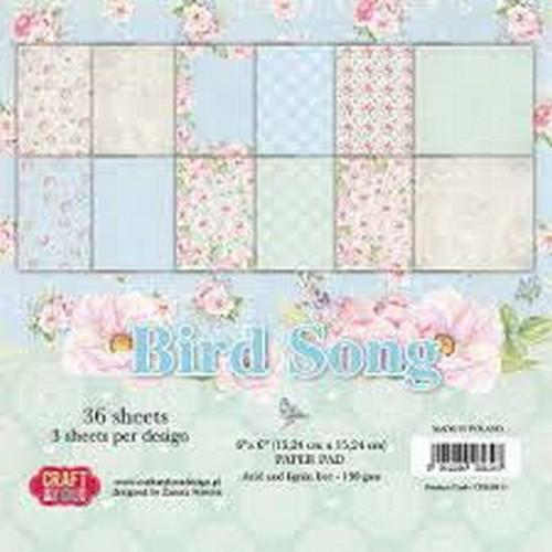 Craft & You Design - Paperpack - 152 x 152mm - Bird Song - CPB-BS15