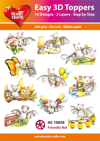 Hearty Crafts - Easy 3D Toppers - Friendly Bat - HC10858